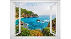 Фототапет красива гледка през прозорец морски залив в 3 цв. дограма