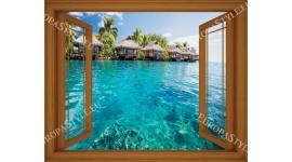Фототапет прозорец изглед тропически вили море - 3 цвята