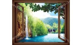 Фототапет прозорец изглед водопад лагуна - 3 цвята