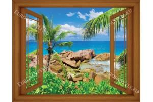 Фототапет-30% размер 165 см-130 см - прозорец палми
