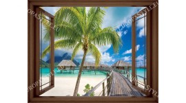 Фототапет прозорец изглед море и мостик - 3 цвята