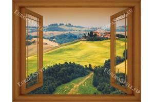 Фототапет прозорец изглед Тоскана поле - 3 цвята