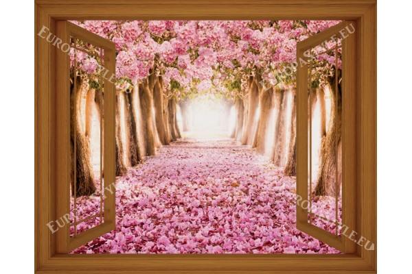 Фототапет прозорец изглед розови дървета - 3 цвята