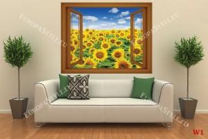 Фототапети красиво поле от слънчогледи прозорец - 3 цвята