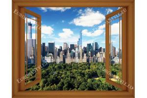 Фототапети малък прозорец с изглед към Ню Йорк Сентрал парк - 3 цвята