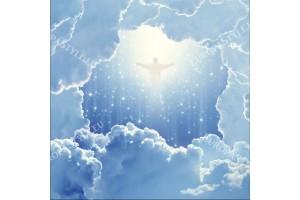 Фототапети космическа абстракция с облаци и Исус за таван