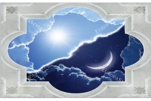 Фототапети рамка класик с гледка нощ и ден с небе