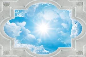 Фототапети рамка класик за таван с небе и слънце