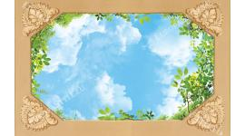 Фототапет за таван с небе и зелени листа