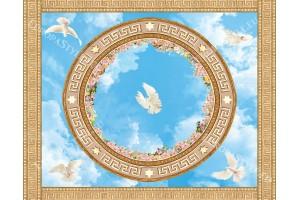 сфера с рози и гълъби небе за таван орнаменти