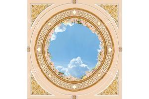 овален орнамент за таван с небе с рози