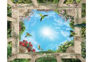 Фототапет за таван с 3д ефект небе с колони и цветя