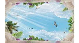 Фототапет за таван с 3д ефект небе с воали и гълъби
