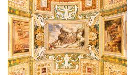 Фототапети рисуван таван стара фреска с релефни статуи