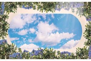 Фототапет за таван с 3д ефект небе и овална рамка
