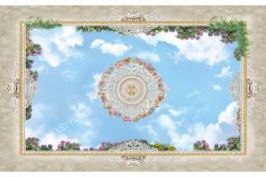 фототапет за таван с 3д ефект небе и орнаментика