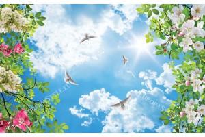 Фототапет небе с гълъби и декорация от пролетен цвят