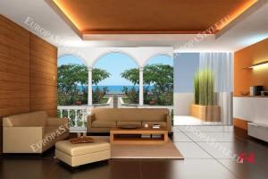 Фототапети тераса изглед на море и прекрасни рози