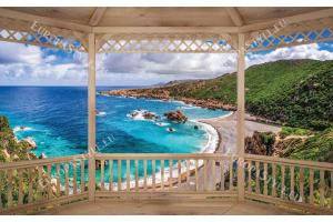 Фототапети дървена тераса изглед морски залив