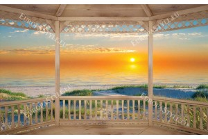 Фототапети морски бряг при изгрев и дюни веранда