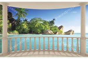 Фототапети морски с палми пейзаж от тераса овал