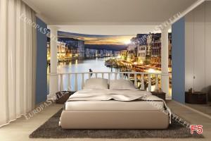 Фототапети изглед на нощна Венеция от тераса овал