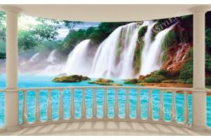 Фототапети изглед от тераса овал на водопад