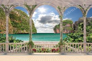 Фототапети изглед на море лагуна през тераса цветя