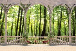Фототапети изглед зелена гора през тераса цветя