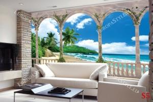 Фототапети изглед с палми и плаж през тераса цветя