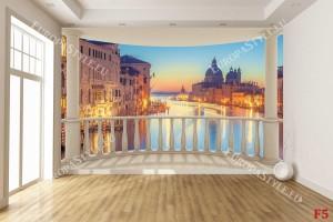 Фототапети изглед от Венеция  тераса овал