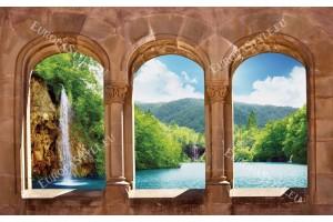 Фототапет изглед през старинни колони с водопад