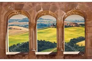 Фототапет изглед през старинни колони Тоскана