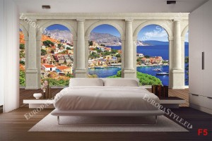 Фототапети изглед през колони средиземноморски пейзаж