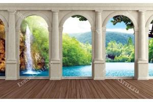 Фототапети изглед през колони на тропически водопад