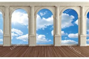 Фототапети изглед през колони на небе и облаци