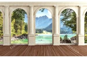 Фототапети изглед през колони на планина и река