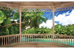 Фототапети дървена тераса изглед тропически залив