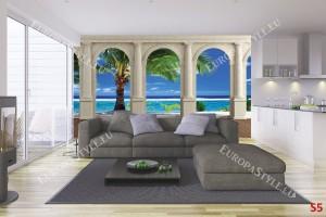 Фототапети слънчев изглед с красива палма през колони