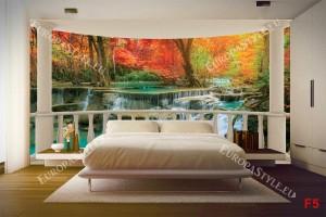 тераса с орнаменти прекрасни цветни горски водопади