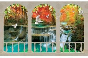 Фототапети тераса изглед водопад и гълъби 2варианта