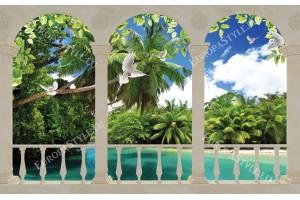 Фототапети тераса изглед гледка с море палми и гълъби
