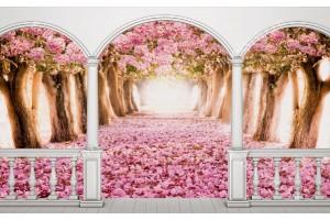 Фототапет тераса изглед розови дървета