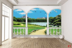 Фототапети 3д изглед красиво езеро тераса
