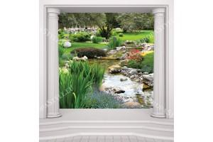 фототапети изглед градина с колони