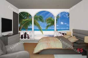Фототапети тераса със слънчеви палми