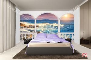 Фототапети бряг морски вълни и залез изглед тераса