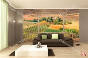 Фототапети дървена тераса изглед Тоскана