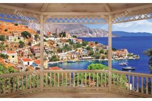 Фототапети дървена тераса изглед на гръцки остров