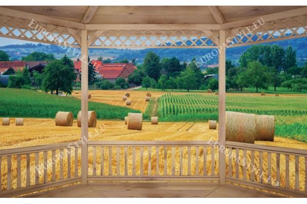 Фототапети дървена тераса с изглед на село с нива